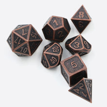 Load image into Gallery viewer, Bronze Embossed Metal Polyhedral Dice Set for Dungeons & Dragons