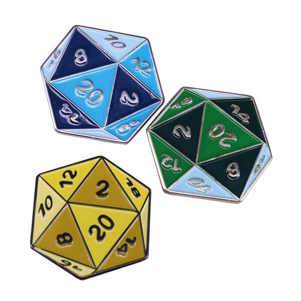 D20 Colourful Polyhedral Dice Pin - Dungeons & Dragons Brooch