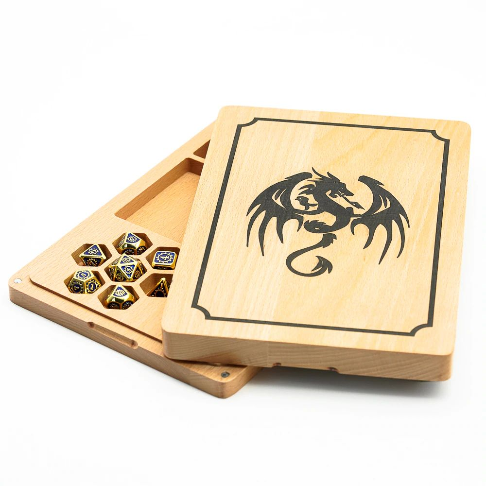 Wood Polyhedral Dice Vault & Tray for Dungeons & Dragons (Rectangular)