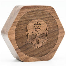 Load image into Gallery viewer, Wood Skull Polyhedral Dice Box for Dungeons & Dragons