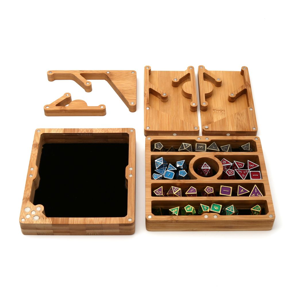 Wood Polyhedral Dice Vault, Tray & Tower for DND Dungeons & Dragons