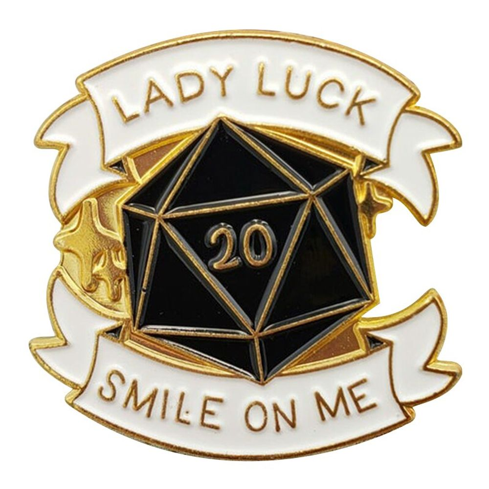 Lady Luck Smile On Me D20 Polyhedral Dice Pin - Dungeons & Dragons Brooch