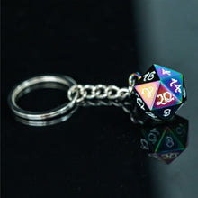 Load image into Gallery viewer, Rainbow Steel D20 Keychain - Dungeons & Dragons Accessory
