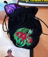 Dragon-Themed Polyhedral Dice Bag for Dungeons & Dragons