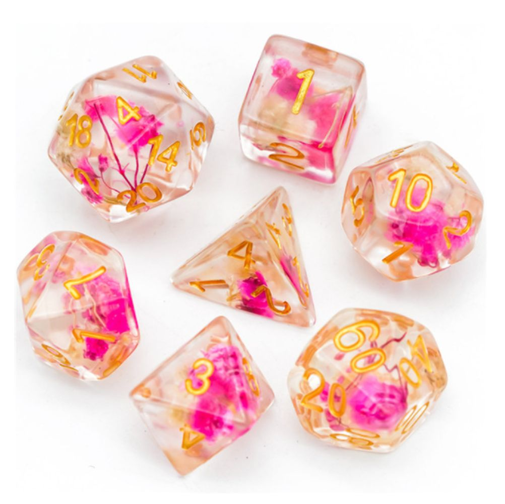 Rose Flower Polyhedral Dice Set for Dungeons & Dragons