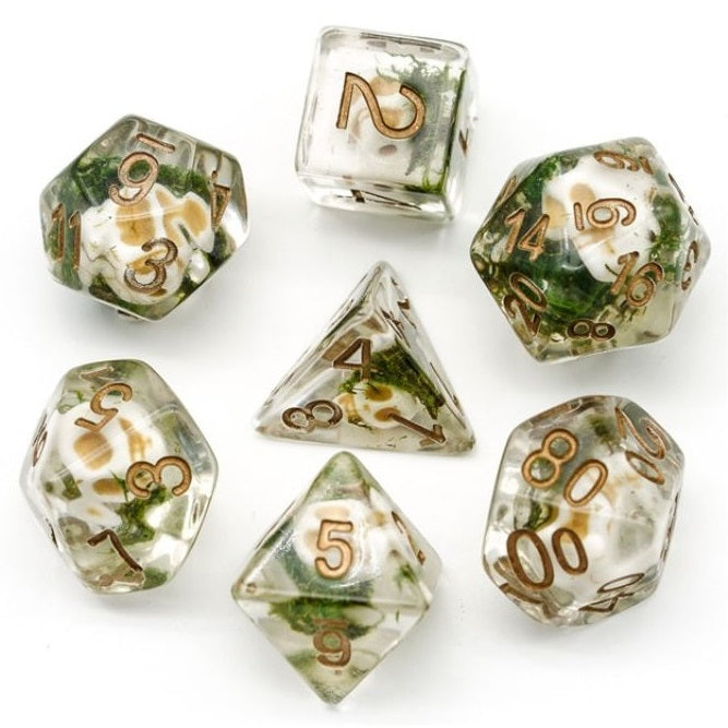 Faerie Skulls Encased in Moss Polyhedral Dice Set for Dungeons & Dragons