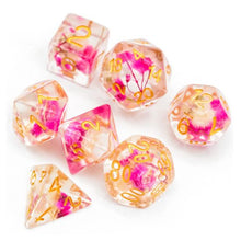 Load image into Gallery viewer, Rose Flower Polyhedral Dice Set for Dungeons & Dragons