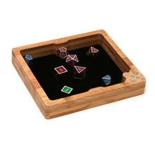 Load image into Gallery viewer, Wood Polyhedral Dice Vault, Tray & Tower for DND Dungeons & Dragons