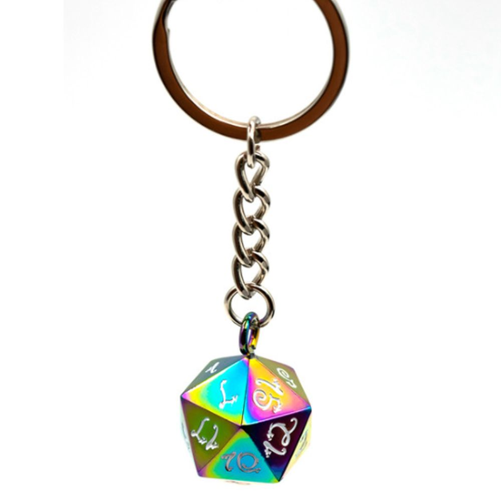 Rainbow Steel D20 Keychain - Dungeons & Dragons Accessory