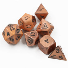 Load image into Gallery viewer, Brushed Copper Metal Polyhedral Dice Set for Dungeons & Dragons