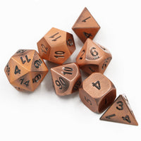Brushed Copper Metal Polyhedral Dice Set for Dungeons & Dragons