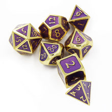 Load image into Gallery viewer, Purple & Gold Embossed Metal Polyhedral Dice Set for Dungeons & Dragons