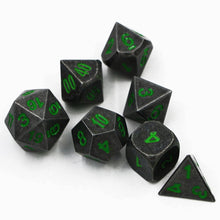Load image into Gallery viewer, Dark Stone w/ Coloured Numbers Metal Polyhedral Dice Set for Dungeons & Dragons