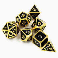 Black & Gold Embossed Metal Polyhedral Dice Set for Dungeons & Dragons