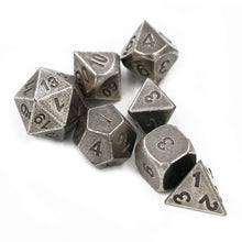 Load image into Gallery viewer, Battle-Worn Steel Metal Polyhedral Dice Set for Dungeons & Dragons