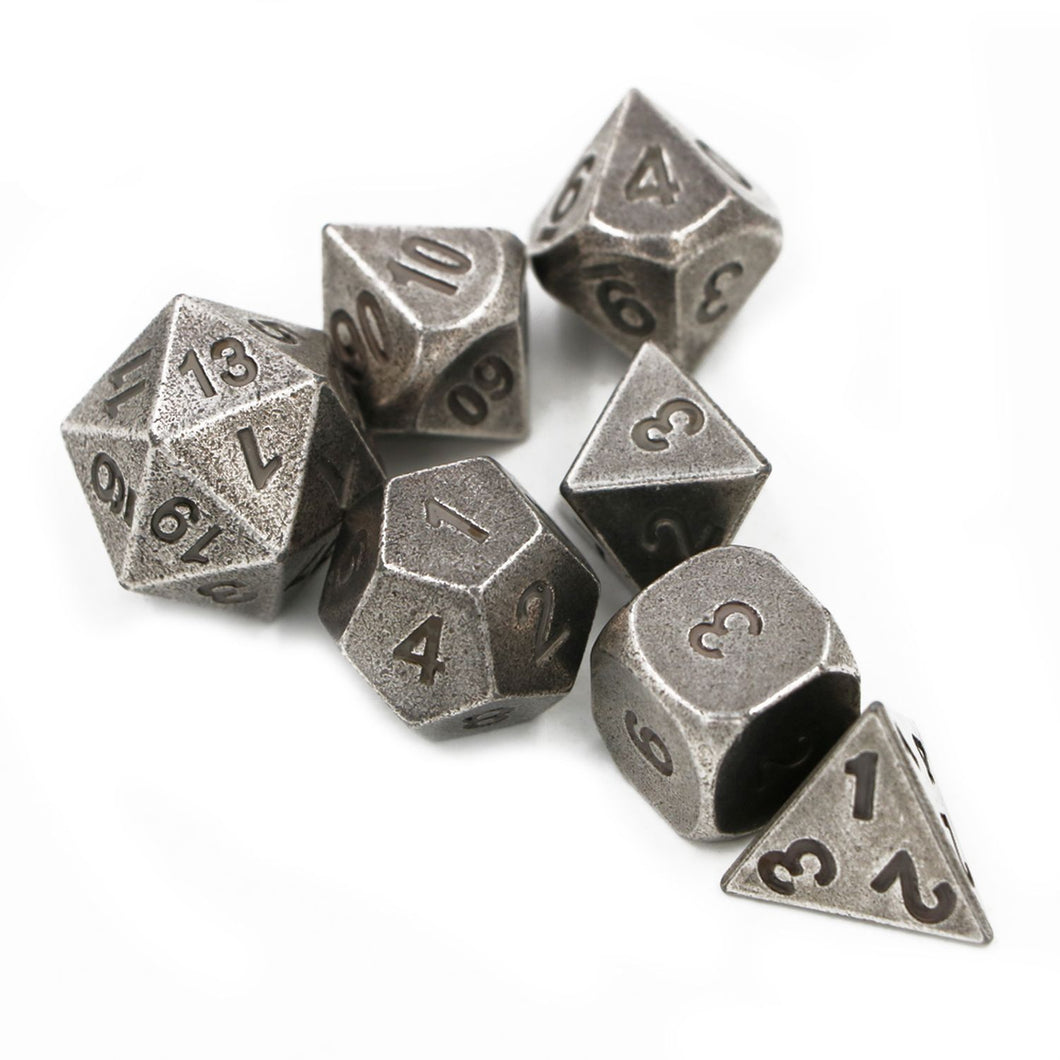 Battle-Worn Steel Metal Polyhedral Dice Set for Dungeons & Dragons
