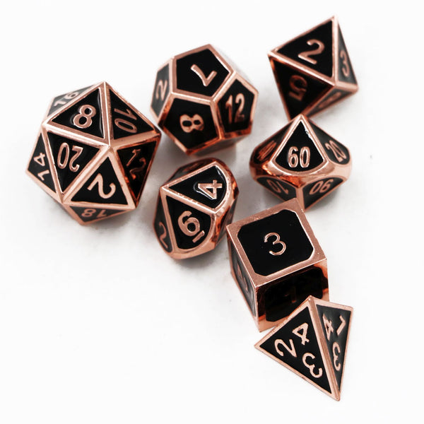 Black & Copper Embossed Metal Polyhedral Dice Set for Dungeons & Dragons