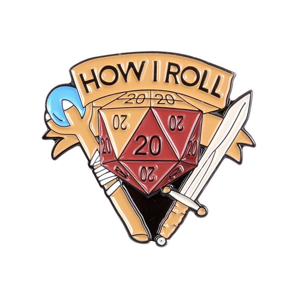 How I Roll D20 Pin - Dungeon & Dragon Brooch