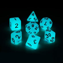 Load image into Gallery viewer, Blue Glow-in-The-Dark Polyhedral Dice Set for Dungeons & Dragons