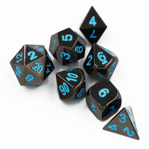 Black Gunmetal Metal Polyhedral Dice Set for Dungeons & Dragons