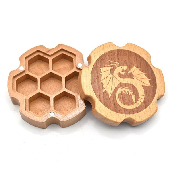 Wood Gear-Shaped Polyhedral Dice Box for Dungeons & Dragons