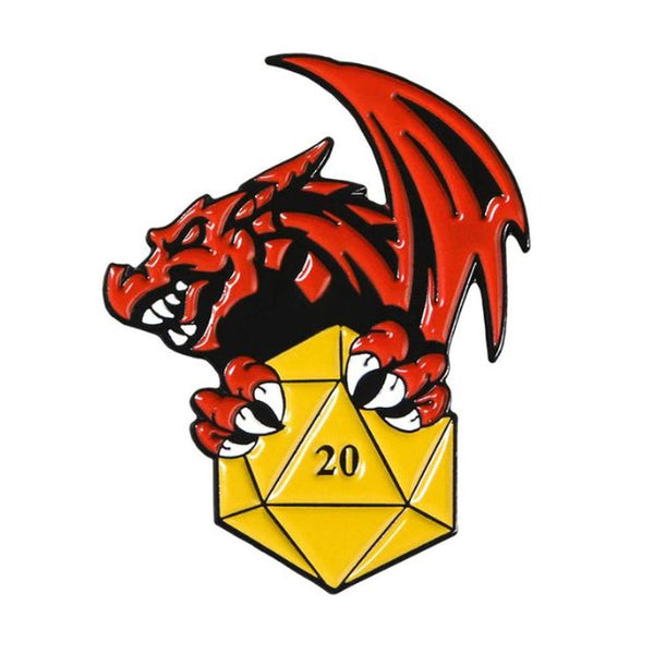Dragon Treasure D20 Polyhedral Dice Pin - Dungeons & Dragons Brooch