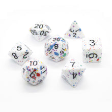Load image into Gallery viewer, Color-Splattered Polyhedral Dice Set for Dungeons & Dragons