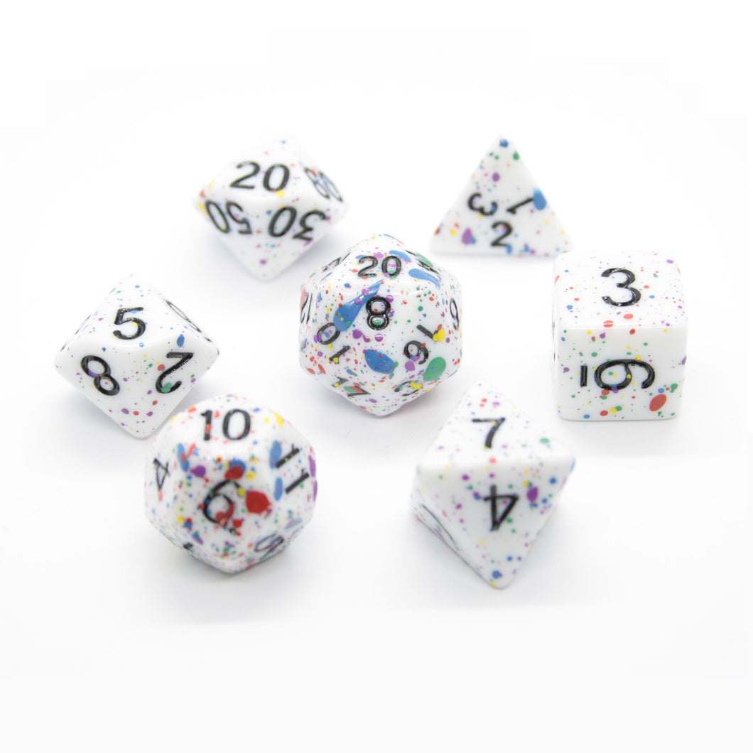 Color-Splattered Polyhedral Dice Set for Dungeons & Dragons