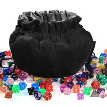 Load image into Gallery viewer, Large Black Polyhedral Dice Bag for Dungeons & Dragons