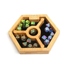 Load image into Gallery viewer, Wood Polyhedral Dice Vault, Tray & Tower for DND Dungeons & Dragons (Hexagonal)