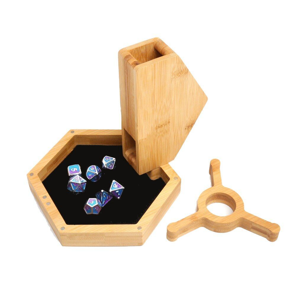 Wood Polyhedral Dice Vault, Tray & Tower for DND Dungeons & Dragons (Hexagonal)