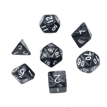 Load image into Gallery viewer, Pearl Polyhedral Dice Set for Dungeons & Dragons (Black)