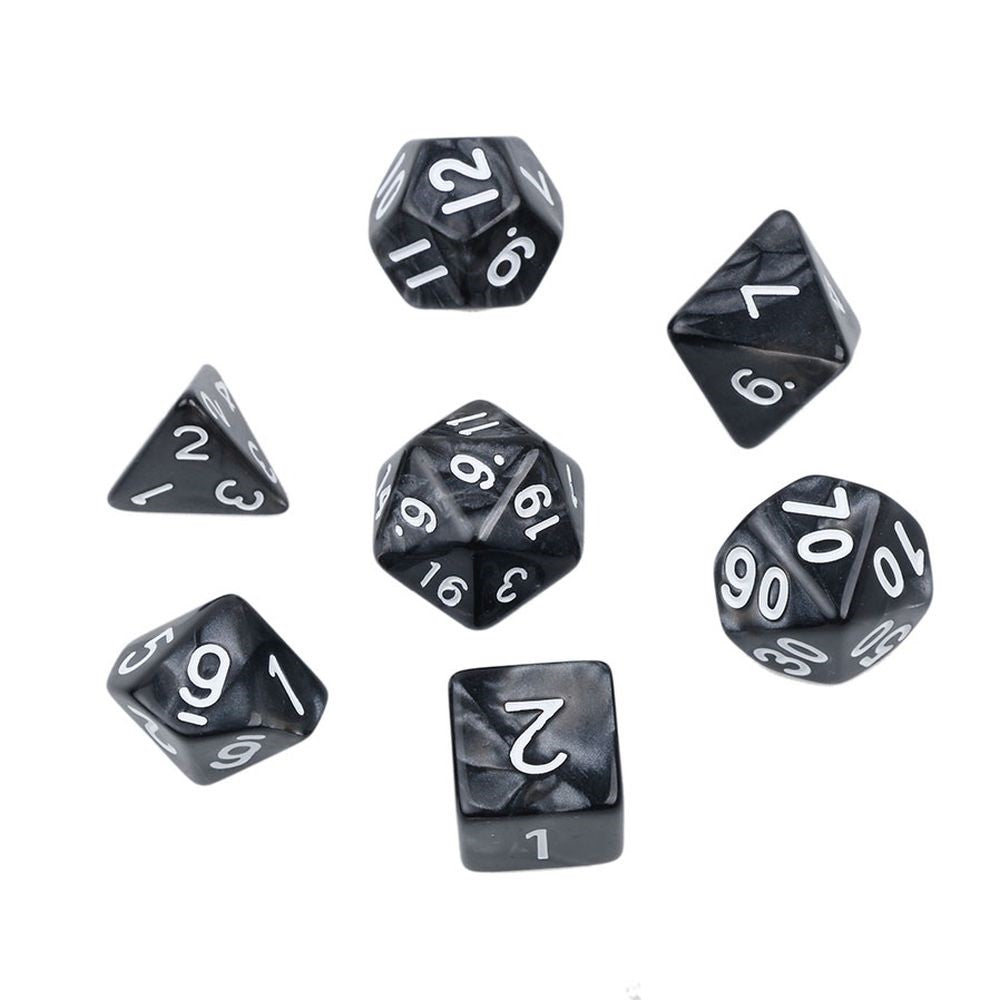 Pearl Polyhedral Dice Set for Dungeons & Dragons (Black)