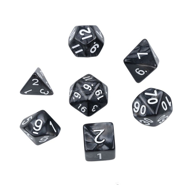 Black Pearl Polyhedral Dice Set for Dungeons & Dragons
