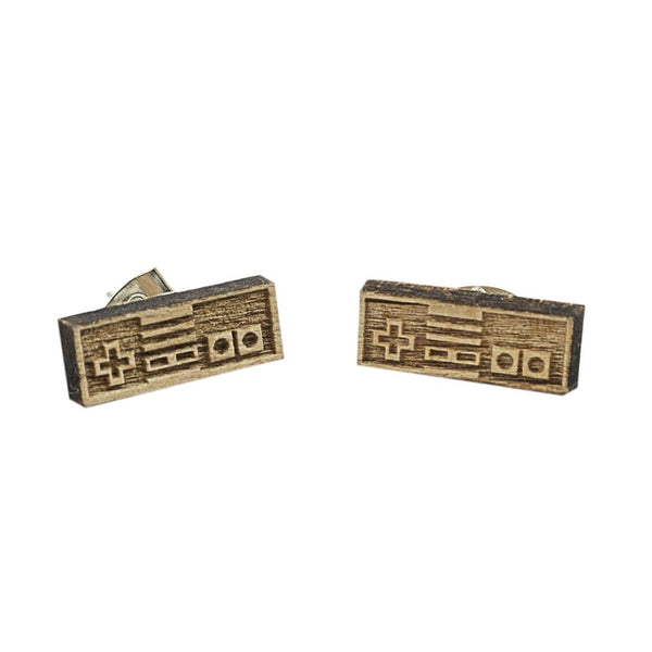 Video Game 8-bit Controller Mini Wood Earrings