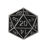 D20 Polyhedral Dice Pin - Dungeons & Dragons Brooch