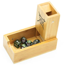 Load image into Gallery viewer, Wood Sword & Ax Dice Tower for Dungeons & Dragons