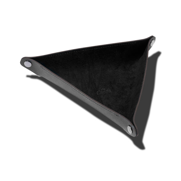 Leather Triangle Catch All Black Home Goods