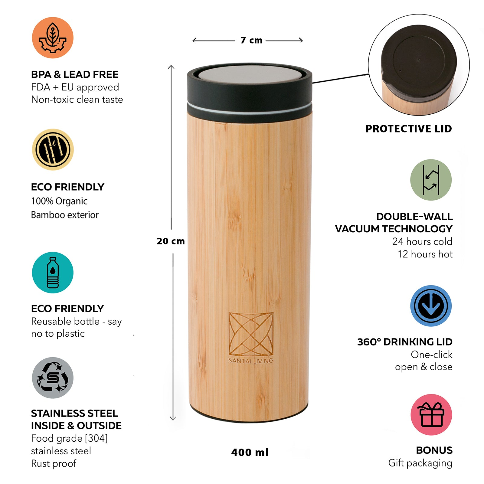 2021 Santai Living Click Open Vacuum-Insulated Travel Mug Double Walled Steel