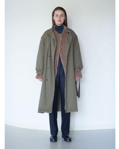 C/N oxford×boa stand military coat