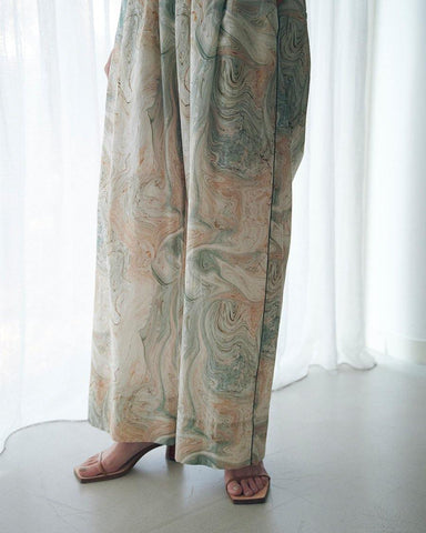 Marble print piping easy pants - 08sircus