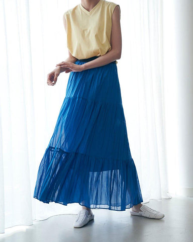 ◎Cotton voile tiered pleated skirt - 08sircus