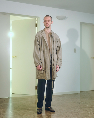 Cotton typewriter garment dyed coat