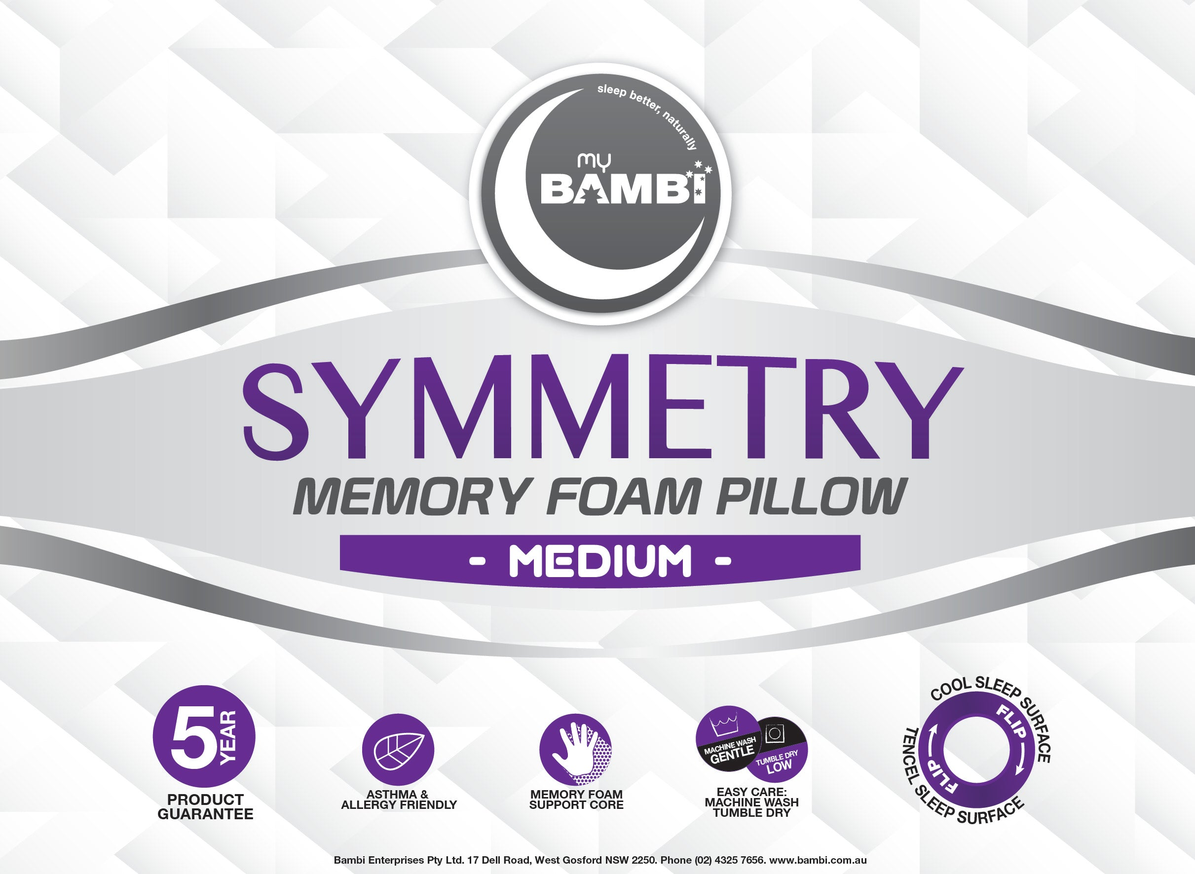 Bambi Symmetry Memory Foam Medium Pillow