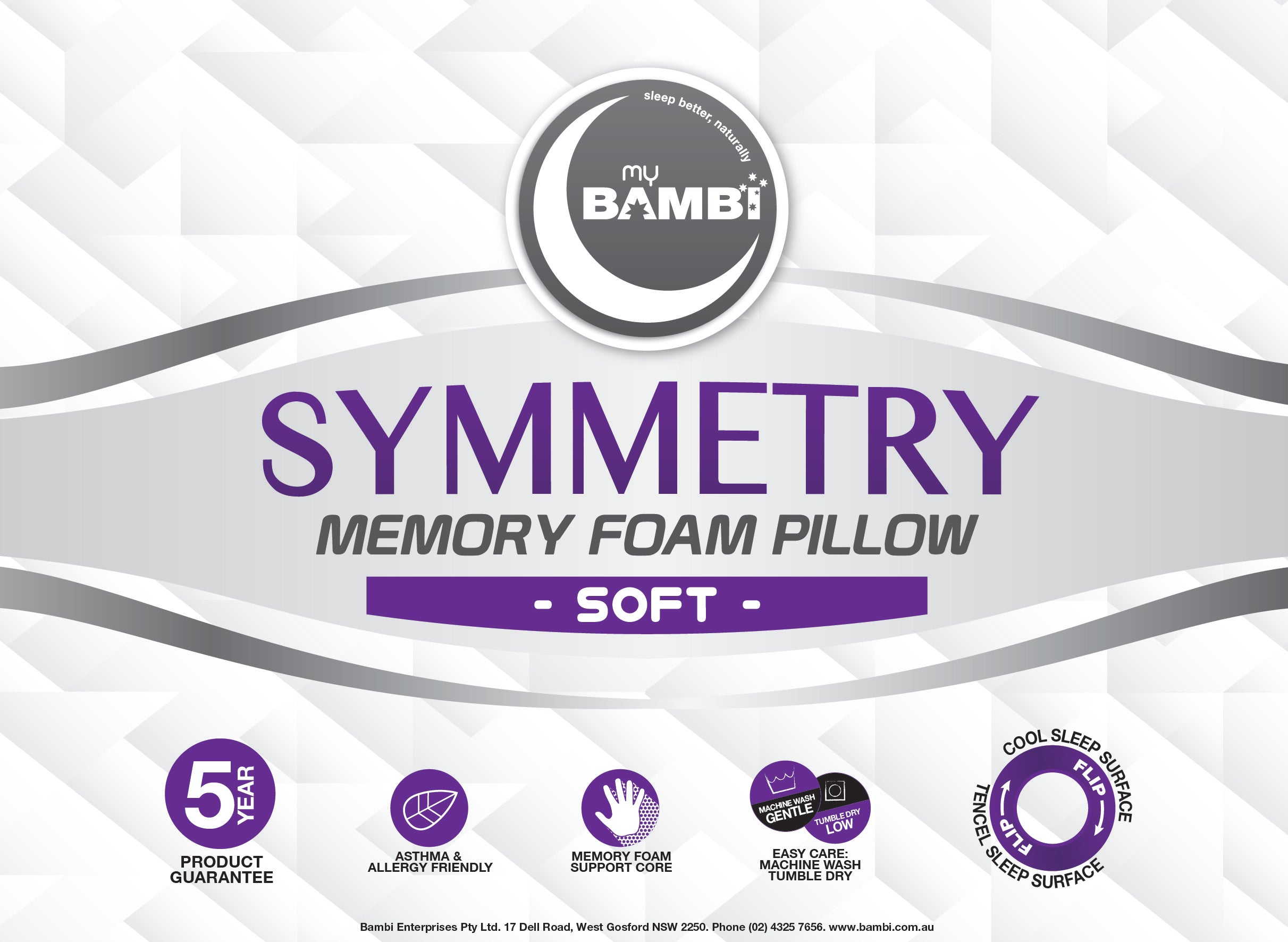 Bambi Symmetry Memory Foam Soft Pillow