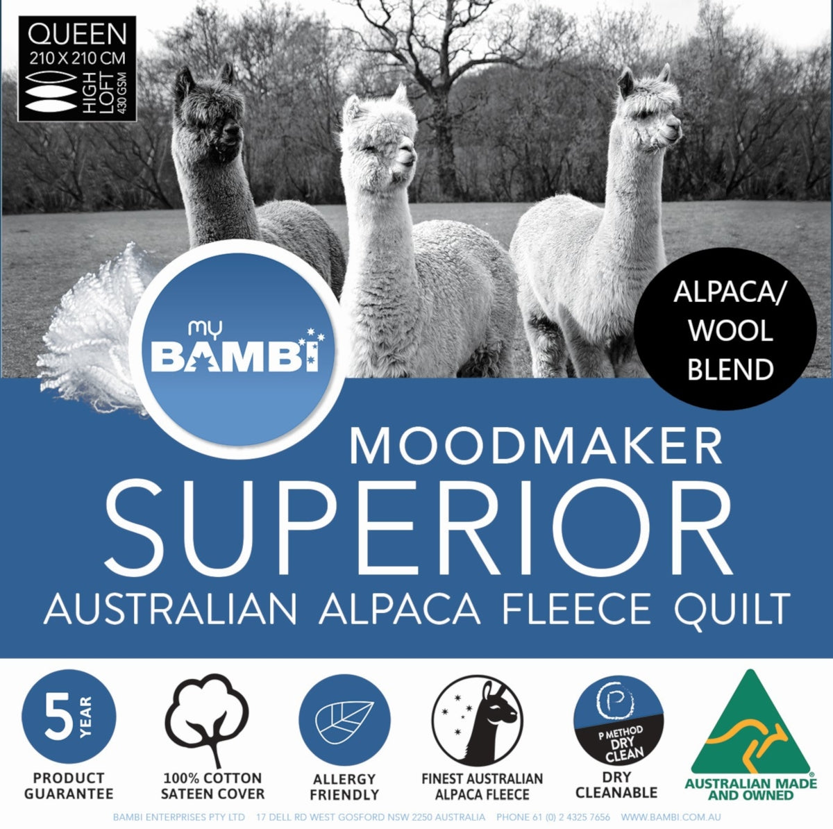 Bambi Moodmaker Superior Alpaca & Wool Light Loft Quilt