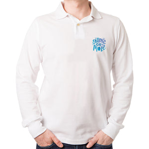 'Badge' Shady Blue Long-Sleeved Unisex Polo