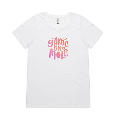 'Up Front' Sunset Pink Womens t-shirt