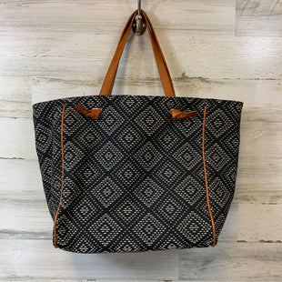 Primary Photo - BRAND: SOLE SOCIETY STYLE: HANDBAG COLOR: NAVY SIZE: LARGE OTHER INFO: BROWN HANDLES AND TRIM 13 X 16 X 6 SKU: 132-13262-39892