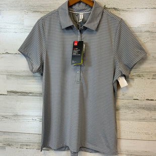 Primary Photo - BRAND: UNDER ARMOUR STYLE: ATHLETIC TOP SHORT SLEEVE COLOR: GREY WHITE SIZE: L OTHER INFO: GOLF POLO UPF 50 STRIPED FITTED SKU: 132-13288-19214